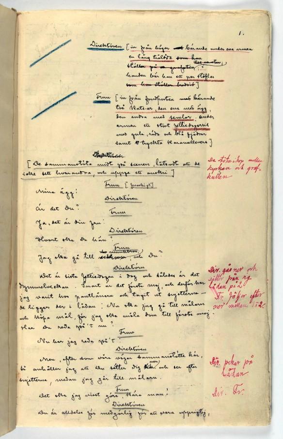 En sida ur manuskriptet till Kaspers Fet-Tisdag