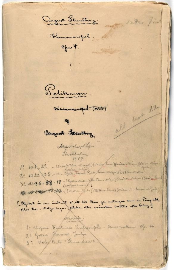 Titelsida från manuskriptet till Pelikanen
