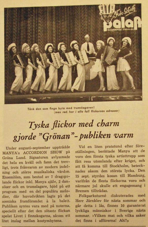 Artikel om Manya's Accordion Show på Grönan