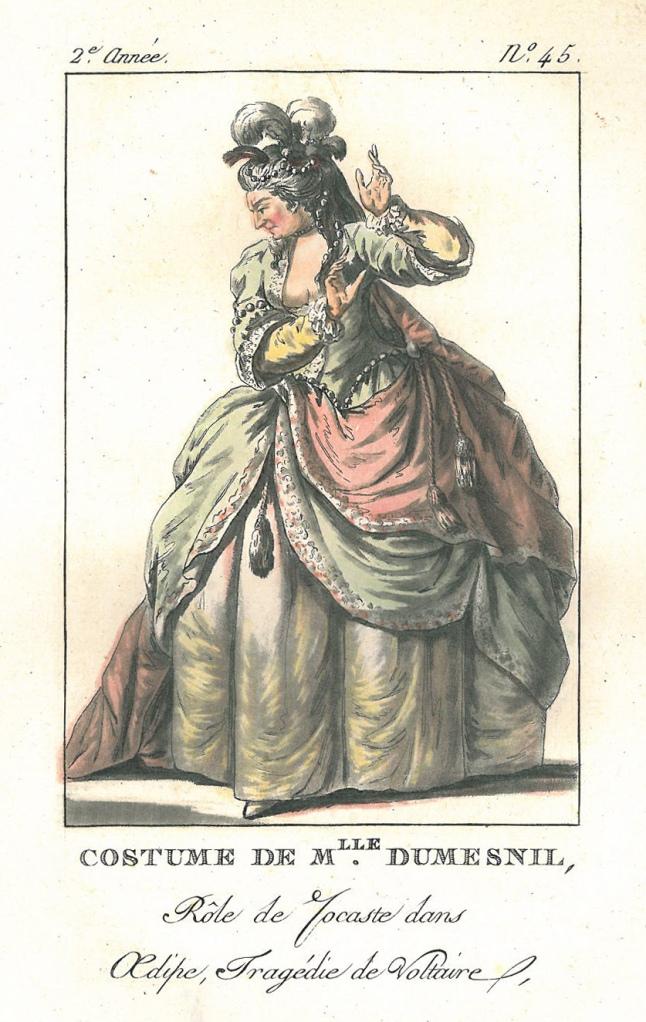 Mlle Dumesnil som Iocaste ur Voltaires tragedi Odipus.