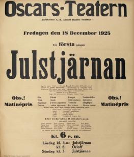 Affisch från premiären av Julstjärnan.