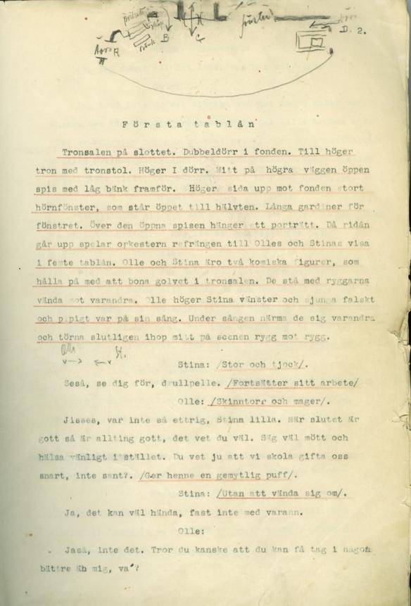 Sida ur manuskriptet till Julstjärnan
