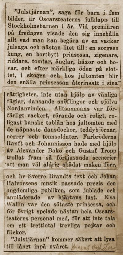 Klipp ur Dagens Nyheter 19/12 1925